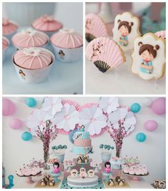 Doll Themed Birthday Party Kokeshi Doll Themed Birthday Party via Kara's Party Ideas Chinese Party, Asian Party, 1st Birthday Parties, Girl Birthday, Themed Parties, Tea Parties, Japanese Theme Parties, Cherry Blossom Party, Cherry Blossoms