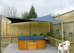 Look at pictures of Shade Sail Layout Designs. Great way to get ideas of how to layout a design for your Shade Structure project. Garden Shade Sail, Garden Sail, Hot Tub Garden, Backyard Shade, Sun Sail Shade, Garden Canopy, Patio Shade, Pergola Shade, Shade Sails