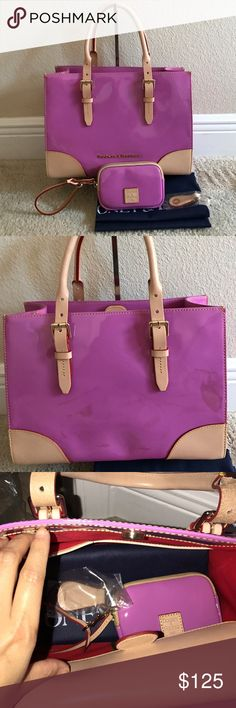 """Dooney&Bourke Patent Leather Satchel w Accessories In good condition.comes with all accessories. Color orchid. Has some stain on the back. Front doesn't have any stains. I did not try to remove it. Selling as is. Some minor flaws see pictures above for more detail. Approximate measurements: Satchel 12-3/4""""W x 9""""H x 4-1/4""""Deep with a 4"""" to 5-1/2"""" handle drop and a 25"""" to 27"""" strap drop, weighs 2 lbs, 7 oz; Wristlet: 5-1/4""""W x 3-1/2""""H x 3/4""""D with a 5"""" strap, weighs 3 oz Body/trim 100% leather…"""