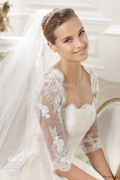 pronovias 2014 wedding dress illusion sleeves