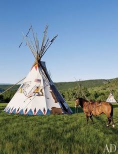 Chief's Tepee Exterior: on the Ralph Lauren ranch. It is a new tepee,built by a artisan. Bedford New York, Colorado Ranch, Ralph Lauren, Into The West, New York Homes, Celebrity Houses, Cabins In The Woods, Cabin Fever, Pool Houses