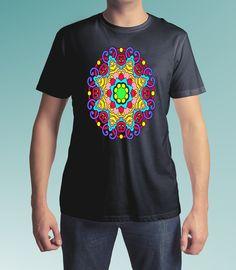 Mandala design T-shirt, pattern, paisley, mystic mandala, mandala style, motif, shape, mandala art, kaleidoscope, men's tee shirt, women's tee shirt, Spreadshirt $16.95,