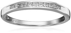 Introducing 14k White Gold PrincessCut Diamond Anniversary Band 14 cttw IJ Color I2I3 Clarity Size 8. Get Your Ladies Products Here and follow us for more updates!