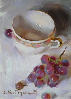 """Daily Paintworks - """"Grapes on White"""" - Original Fine Art for Sale - © Elena…"""