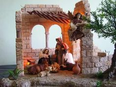 Nativity Creche, Nativity Stable, Christmas Nativity Scene, Christmas World, Christmas Holidays, Christmas Decorations, Christmas Ornaments, Medieval Houses, Garden Terrarium