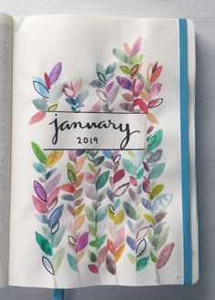 Bujo Cover January 2019 - New Sites January Bullet Journal, Bullet Journal Spread, Bullet Journal Layout, Bullet Journal Inspiration, Diy Agenda, Journal Covers, Journal Pages, Journal Ideas, Journals