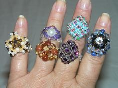 rings from patterns by Aleshia of Beadifulnights and Off the Beaded Path. Sold all of these rings.