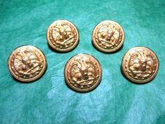 "(5) 1"" EAGLE ANCHOR 13 STARS MILITARY NAVY UNIFORM GOLD SHANK BUTTONS (V20)"
