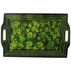 Black & Green Papier-Mâché Tray (165 AUD) ❤ liked on Polyvore featuring decorative trays