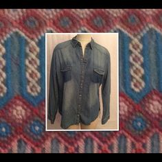 "Zara Trafaluc Chambray Denim Aztec Blouse Large Brand new with tags this long sleeve blouse sold out long ago. It is  faded and distressed with embroidery on back yoke and cuffs. It is 100 percent cotton with Pearl and copper look snaps. There is 15"" between the shoulders, the bust is 42"" measured under arms, the sleeves are 24"" long and it 27"" long measured from the bottom of the neck. ZARA runs SMALL. Perfect for almost year round wear. As all manufacturers cut differently please check…"