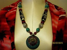 RED BLUE SILVER BRASS NECKLACE NEPAL / TIBET 24 inches HAND CRAFTED