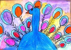 "'Peacock' - watercolour, oil pastel / wax crayon, black marker pen. From exhibit ""Grade 1 'Peacock'"" by Emily20239"