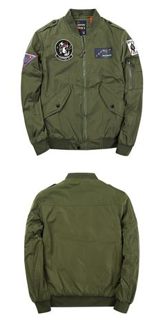 Badge Patched Zip Up Bomber Jacket - Army Green L