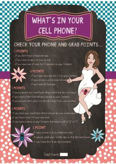 """Bridal Shower Game """"What's in your Cell Phone""""....but since this is about rick and tish the cell phone stuff also about them:"""