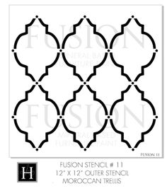 Moroccan Trellis reusable paint and furniture and drawer stencil. Our Fusion™ Stencils are laser cut out of hazy 10 mil tear resistant polyester base mylar. Painted Foundation, Baroque, Wall Stencil Designs, Wall Trim, Letter Stencils, Stone Texture, Mineral Paint, Moroccan Decor, Stencil Painting