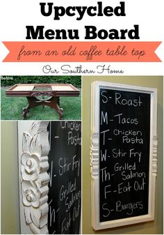 Our Southern Home | Upcycled Menu Board | http://www.oursouthernhomesc.com