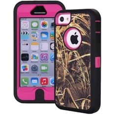 Heavy Duty Straw Grass Real Tree Camo Defender Case Cover for iPhone 5c Hot Pink - $8.50