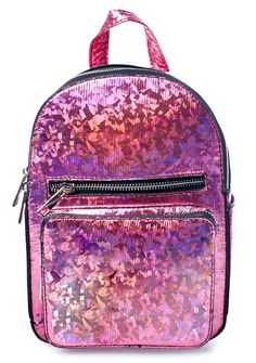 Current Mood Partygirl Mini Backpack is an explosion of shimmer confetti! Letz get the party started wit this structured mini backpack that's completely covered in a pretty pink holographic prism coating that catches lights. YAS! Featuring a roomy interior lined in satin, front pockets, dual adjustable straps and top zipper closure, this lil hologram mini backpack is every party girl's savior.