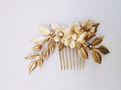 Brass+flowers+and+leaves+comb+with+freshwater+by+mignonnehandmade,+$55.00