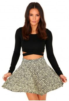 Dersi Aztec Print Skater Skirt In Yellow Cute Skater Skirts, Skater Skirt Outfit, Skirt Outfits, Indie Fashion, Girl Fashion, Fashion Design, Style Fashion, Aztec Skirt, Birthday Fashion