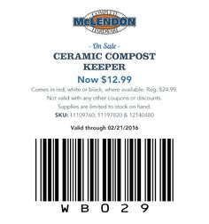 Ceramic Compost Keeper Now $12.99 Comes in red, white or black, where available. Reg. $24.99.