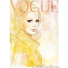 Vintage 60s Vogue Paris Cover watercolor Fashion Illustration Print... ($35) ❤ liked on Polyvore
