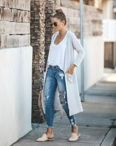 """SWEATERS - Grigio Pocketed Duster Cardigan """"Grigio Pocketed Duster Cardigan You are in the right place about - Outfits With Grey Cardigan, Cardigan Outfit Summer, Cardigan Style, Maxi Cardigan, Dress With Cardigan, Fall Outfits, Summer Outfits, Casual Outfits, Cozy Outfits"""