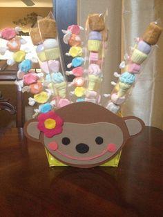 Monkey love candies kabobs centerpiece Candy Kabobs, Marshmallow, Centerpieces, Birthday Parties, Baby Shower, Candies, Monkey, Fun, Party Ideas