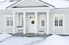 #kannustalo #aurora My Home, White Light, Sweet Home, Covered Porch, Curb Appeal, Interior, House, Beautiful Homes, Home Projects