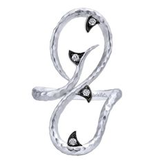 Gabriel NY   Snake like hammered silver ring