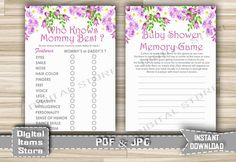 Printable Who Knows Mommy Best and Baby Shower by DigitalitemsShop