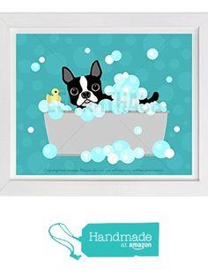 "139D - Boston Terrier with Rubber Duck in Bubble Bath Bathtub Wall Art Print by Lee ArtHaus (One UNFRAMED Print), 8"" x 10"", 11"" x 14"" or 12"" x 16"" from LeeArtHaus http://www.amazon.com/dp/B01CBC8ENO/ref=hnd_sw_r_pi_dp_3Dr2wb1FP512T #handmadeatamazon"