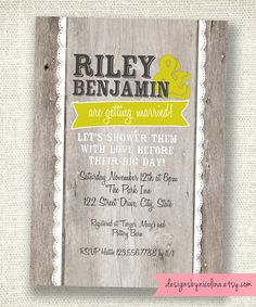 Wood and Lace Rustic Wedding Shower Rehersal Dinner - PRINTABLE Invitation - You choose the colors. $18.00, via Etsy.