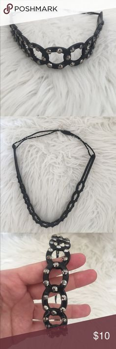 Rachel Weissman black and rhinestone headband Rachel Weissman black rubber headband with loop and rhinestone design. Some of the elastic is a bit stretched out otherwise good condition. Accepting offers :) Rachel Weissman Accessories Hair Accessories