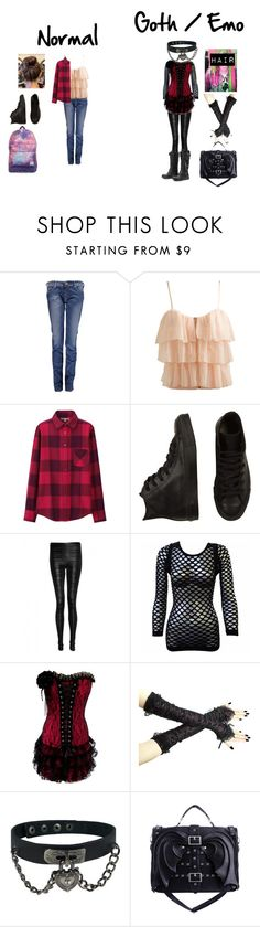 """Well first day of school"" by bubble-loves-you ❤ liked on Polyvore featuring Replay, Wet Seal, Uniqlo, Converse, Black Fleece, Poizen Industries, CO, women's clothing, women's fashion and women"