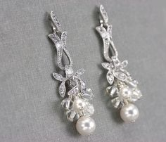 Cluster Earrings, Pearl and Crystal Bridal Earrings, Wedding Jewelry with Swarovski Crystals and Pearls, White or Ivory. $59.00, via Etsy.