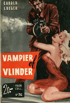 Foreign pulp cover art, man woman dame tommy machine gun shooting danger