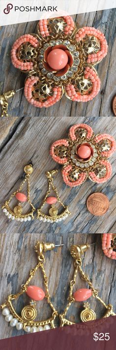 J. Crew Coral Brooch EUC. This is a beautiful piece of vintage J. Crew jewelry. Coral beads, pearls, and crystal stones marry with gold toned metal so gorgeously. I wore this in my updo and it looked stunning. I have matching earrings for sale too. J. Crew Jewelry Brooches