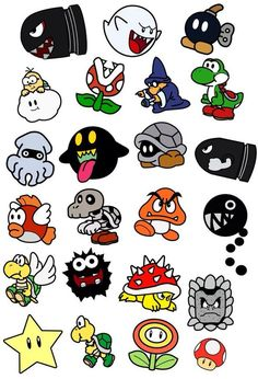 I would use this as a template to make shrinky sinks! Personajes de Mario Bros by on DeviantArt Nintendo Tattoo, Pacman Tattoo, Graffiti Lettering, Graffiti Art, Graffiti Tattoo, Graffiti Doodles, Cartoon Drawings, Cartoon Art, Cartoon Tattoos