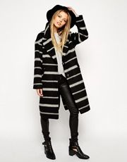 ASOS Coat In Brushed Stripe