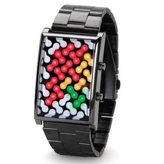 The Illuminating Links Watch - Hammacher Schlemmer - 27 active LEDs that light up in red, yellow, and green to indicate the hour, five-minute increments, and one-minute increments—11 red links, 11 yellow links, and four green links indicates 11:59. I don't get this. But it's cool!