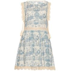 REDValentino Toile de Jouy lace-trim dress (62.500 RUB) ❤ liked on Polyvore featuring dresses, blue white, red valentino dress, toile dress, blue and white lace dress, lacy slip and red valentino