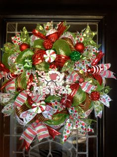 Christmas Deco Mesh Wreath by Disideas on Etsy, $115.00