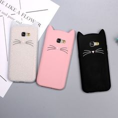 Animal Phone Case for Samsung Galaxy 2017 Cute Mustache Cat Silicone Coque Cover for Galaxy ,Case for iphone 5 6 7 plus Pink White Black Coque Samsung Galaxy A3, Galaxy A5, Phone Cases Samsung Galaxy, Samsung Galaxy Note 8, Iphone 5 6, Coque Iphone, Iphone Cases, Animal Phone Cases, Cute Phone Cases