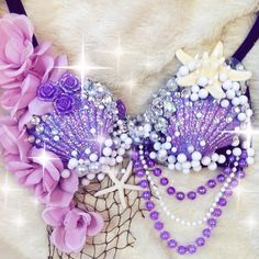 Ariel The Little Mermaid Rave Bra by TheLoveShackk on Etsy