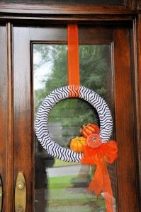 Halloween wreaths on a budget with chevron fabric.