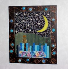 Mixed Media Mosaic Wall Art  Cat/Blue. $109.00, via Etsy.