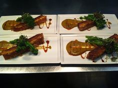 Slow Roasted Organic Pork Belly with Spiced Pumpkin and Chilli Caramel. Its the piggy's time to shine.