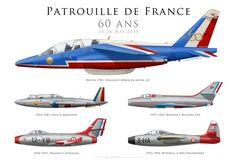60 Ans de la Patrouille de France. Representative colours & aircraft over 60 years of Patrouille de France.