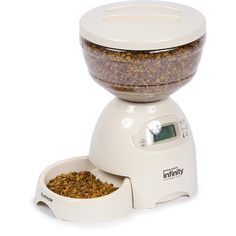 Programmable feeder - great particularly for cats who pester owners for food and need only a specific amount each day